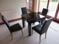 Table and 4 chairs, modern, gloss black, faux leather chairs, extendable
