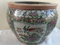 Qianlong style Famille Rose fish bowl six red character marks to bottom