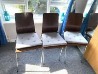 3 solid chairs dining/ garden