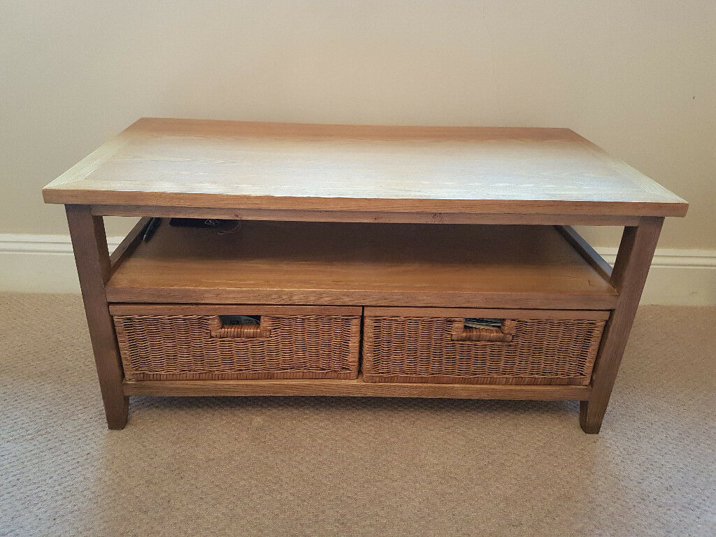 Next Coffee Table Oak With Rattan Drawers And Shelf