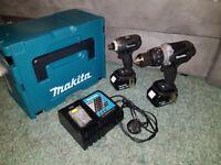 Makita 18V Impact And Combi Drill Twin Pack 4.0 Ah Set