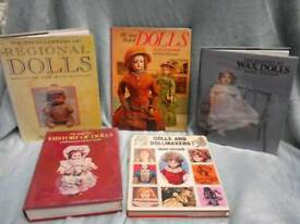 Job lot of five antique and vintage doll reference books.