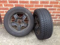 Two wheel rims with winter tyres