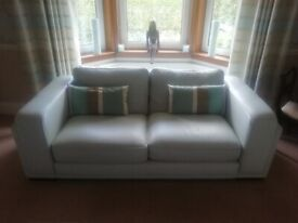 Leather Sofa's Silver Grey (2 off)