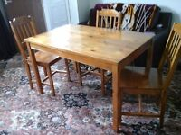 NEWLY VARNISHED DINING TABLE AND 3 CHAIRS