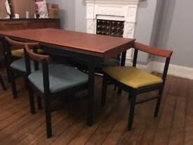 Vintage 60s White and Newton Ltd Teak dining table and chairs