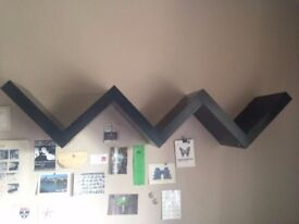 IKEA 'LACK' wall shelf - unusual zig-zag floating bookshelf / rare & discontinued IKEA bookcase
