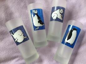 Four 'Winter Animals' glasses