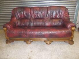 Oxblood Leather 3-seater Oak Frame Sofa (Suite)