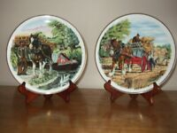 2 Holly Barn decorative ornamental plates with stands