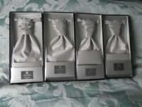 Cravats and pocket squares x 4 in silver/grey silk, brand new still boxed and unopened