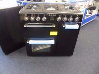 SMEG BM93BL 90 cm Dual Fuel Range Cooker 5-burner gas hob Black Stainless Steel