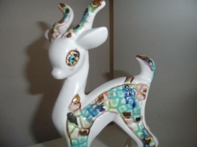 """Vintage Ceramic  Relco Deer Fawn figurine moseic stylized  Mid Century 9"""" MDM"""