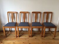 Vintage 1930s Kitchen Dining Chairs x 4 Solid Oak Reupholstered