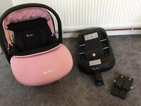 Silver Cross Simplicity Car Seat - Vintage Pink plus isofix and car seat adaptors for pram