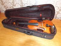4/4 Stentor violin, bow, shoulder rest and case