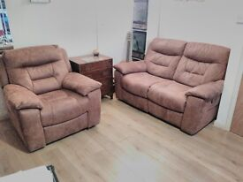 Tan Brown Faux Suede 2 seater Recliner Sofa and Armchair Set - Excellent condition!
