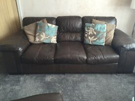 Brown Leather 3 Seater Sofa & 2 x Leather Armchairs