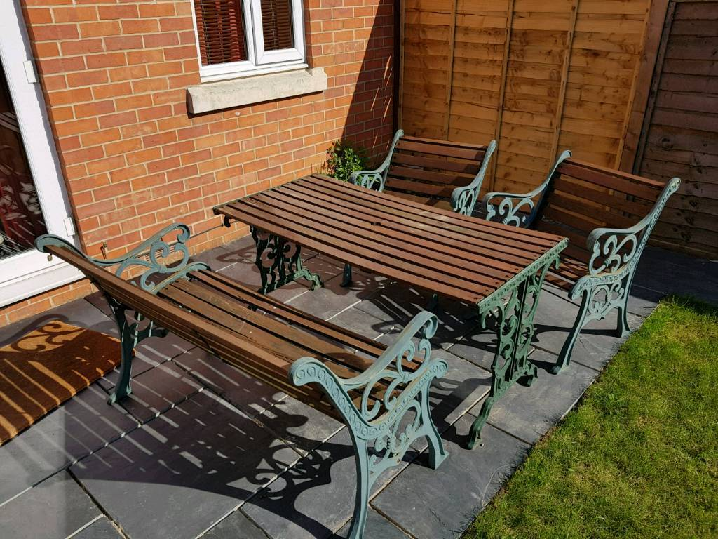 Wrought Iron Metal And Wood Garden Furniture Set Chairs Bench Table
