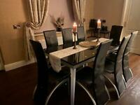 Dining Table + 8 leather chairs