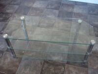 "EXCELLENT CONDITION 3 LEVEL GLASS & CHROME TV STAND. PERFECT FOR 50"" TV."