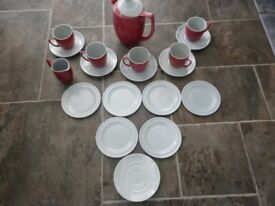 Vintage 1950s Branksome China Coffee Set in Claret + Grey Contrast