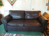 Dark brown leather large 2 seater sofa £50 ono