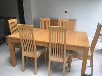 Extending Dining Table with 6 Chairs and matching sideboard