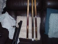 3 snooker cues all 1 piece