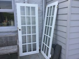 Pair of Internal wooden rebated glazed French Doors