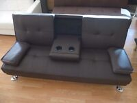 Brand New 3 Seater Brown Faux Leather Sofa Bed inc. 2 Drink Holders (FREE LOCAL DELIVERY!!!)
