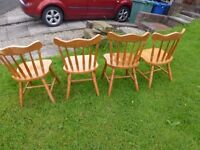 Pine Spindle back Chairs x 4...