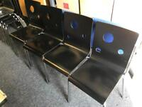 Black Stacking Chairs Wooden with Chrome Legs £5 each or 4 for £15, Black Glass Table also £30