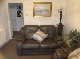 Brown Leather Two and Three Seater Reclining Sofas