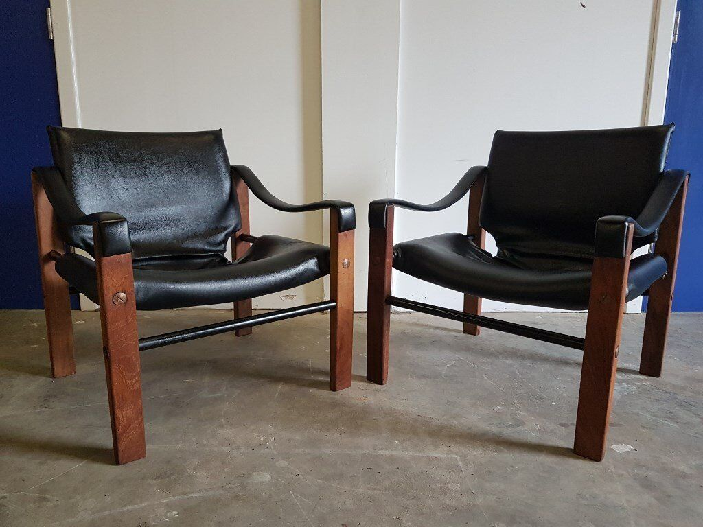 PAIR OF SAFARI CHAIRS BY MAURICE BURKE ARKANA RETRO DESIGNER CHAIR SET DELIVERY AVAILABLE