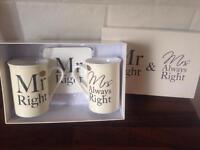Mr & Mrs mug & coaster set in box
