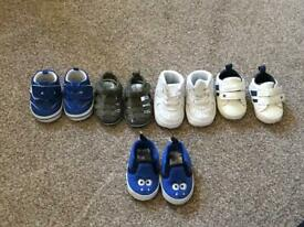 Baby boy bundle of 5 shoes/trainers - size 0-3/3-6 months