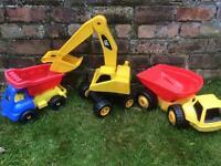 Set of Large Toy Trucks/Digger