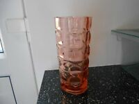 Pressed glass vintage vase Art Deco in style.