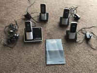Telephone - Quad set, cordless with answer phone