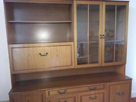 Teak veneer wall unit, With drinks cabinet and glass fronted display