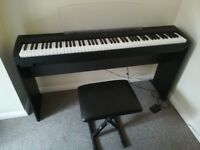 YAMAHA ELECTRIC DIGITAL PIANO WITH FOOTPEDAL, STAND AND SEAT. P - 95 B/P - 95S