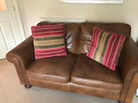 Michael Tyler Brown Leather and Fabric Sofas