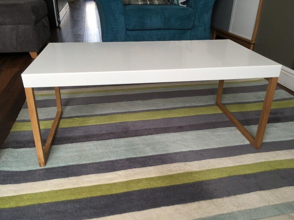 Habitat Kilo Solid Oak And White Metal Coffee Table