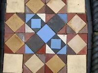 Reclaimed Victorian floor tile/garden feature + ropetwist edging tiles