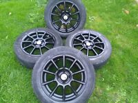 "15"" 4x100 Tekno black Alloy wheels"