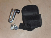 Motorcycle Mini Disc Lock, 10mm. with 2 keys & carry pouch