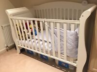 Top quality white wooden sleigh cotbed for 0-5years old. Cost over £600 new only £150