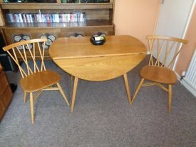ERCOL, Light Elm Dining Table & Chairs