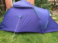 Two person tent, single air bed, pump